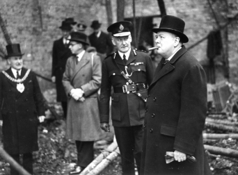 Churchill visiting Manchester in 1941 to inspect the damage caused by Christmas Blitz
